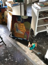 My daughters beloved dog Elio in front of one of her current STUDIO Projects