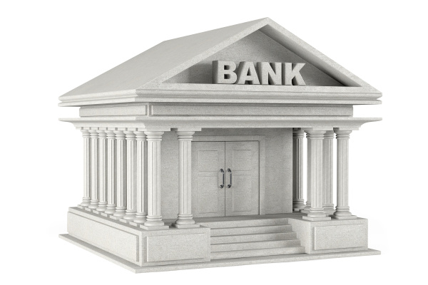 3d concrete Bank Building